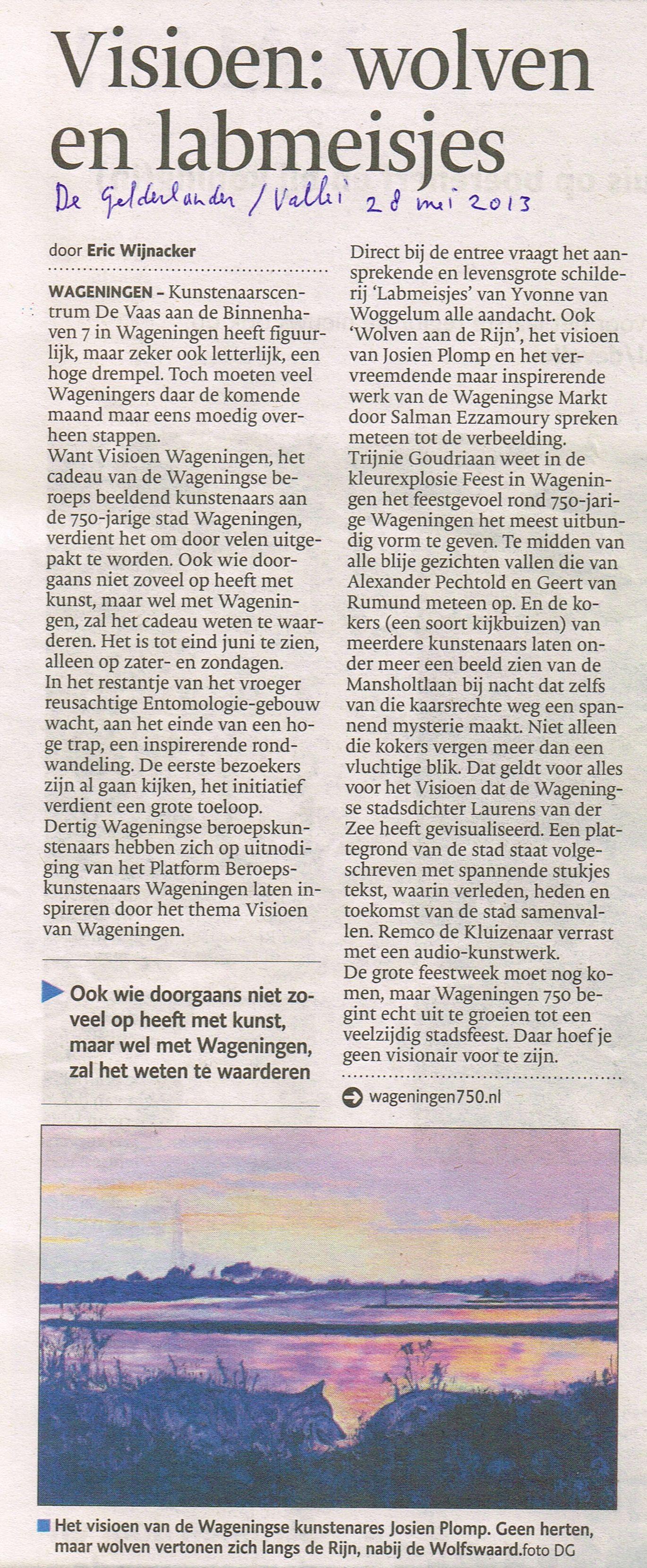 2013 De Gelderlander 28 mei over Visioen Wageningen