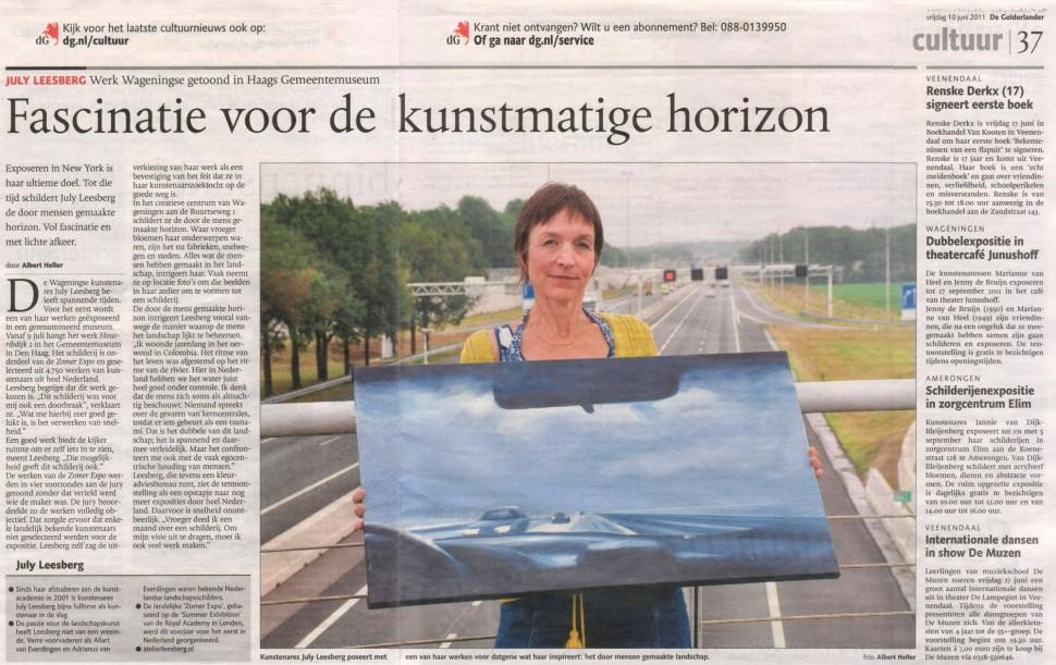 July Leesberg in De Gelderlander 10 juni 2011